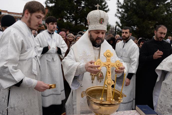 В праздник Крещения Господня епископ Леонид совершил Литургию и чин великого освящения воды в Свято-Георгиевском кафедральном соборе
